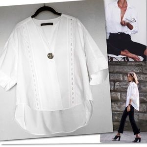 ZARA WOMAN WHITE BIG BUTTON TOP SHIRT US SZ M